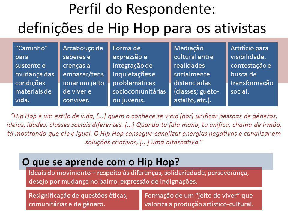Perfil do Respondente: definições de Hip Hop para os ativistas Caminho para sustento e mudança das condições materiais de vida.