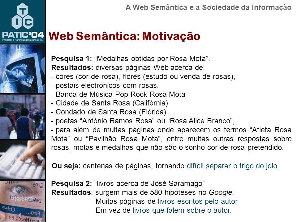 A Web Semântica e a Sociedade da Informação Web Semântica: Motivação Pesquisa 1: Medalhas obtidas por Rosa Mota .