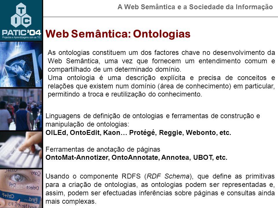 A Web Semântica e a Sociedade da Informação Linguagens de definição de ontologias e ferramentas de construção e manipulação de ontologias: OILEd, OntoEdit, Kaon… Protégé, Reggie, Webonto, etc.