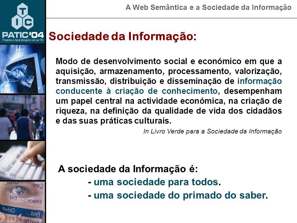 A Web Semântica e a Sociedade da Informação Sociedade da Informação: A evolução da sociedade actual não será motivada pela força nem pela energia mas sim pelo domínio da informação. Sociedade da informação corresponde a uma sociedade cujo funcionamento recorre crescentemente a Redes Digitais de informação .
