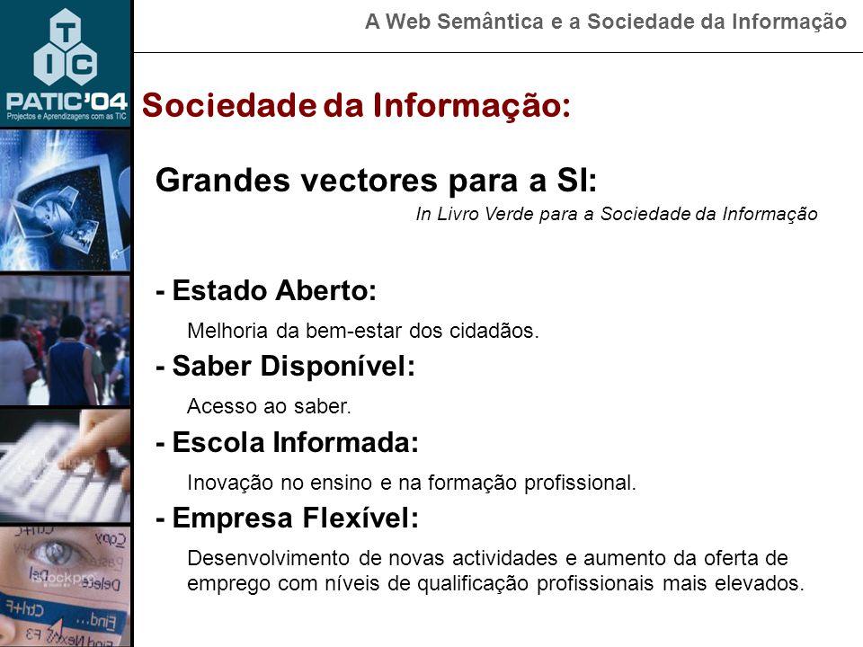 A Web Semântica e a Sociedade da Informação Plano de Acção para a Sociedade da Informação Baseado nos Planos de Acção eEurope 2002 e eEurope 2005 estrutura-se em cinco eixos de actuação: Sociedade da Informação: