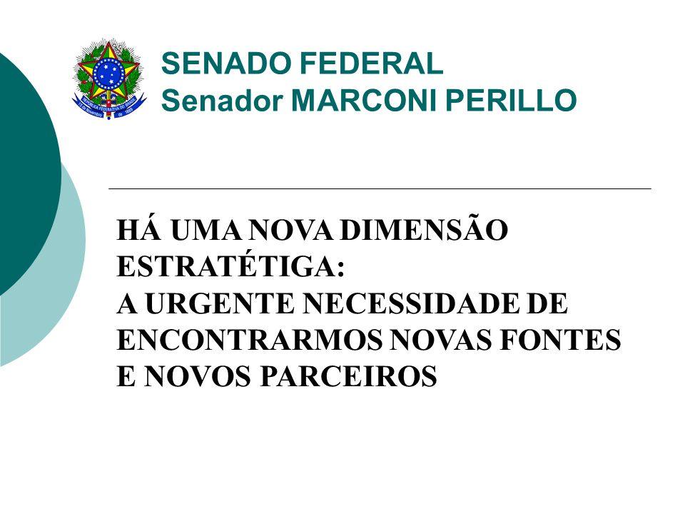 HÁ UMA NOVA DIMENSÃO ESTRATÉTIGA: A URGENTE NECESSIDADE DE ENCONTRARMOS NOVAS FONTES E NOVOS PARCEIROS SENADO FEDERAL Senador MARCONI PERILLO
