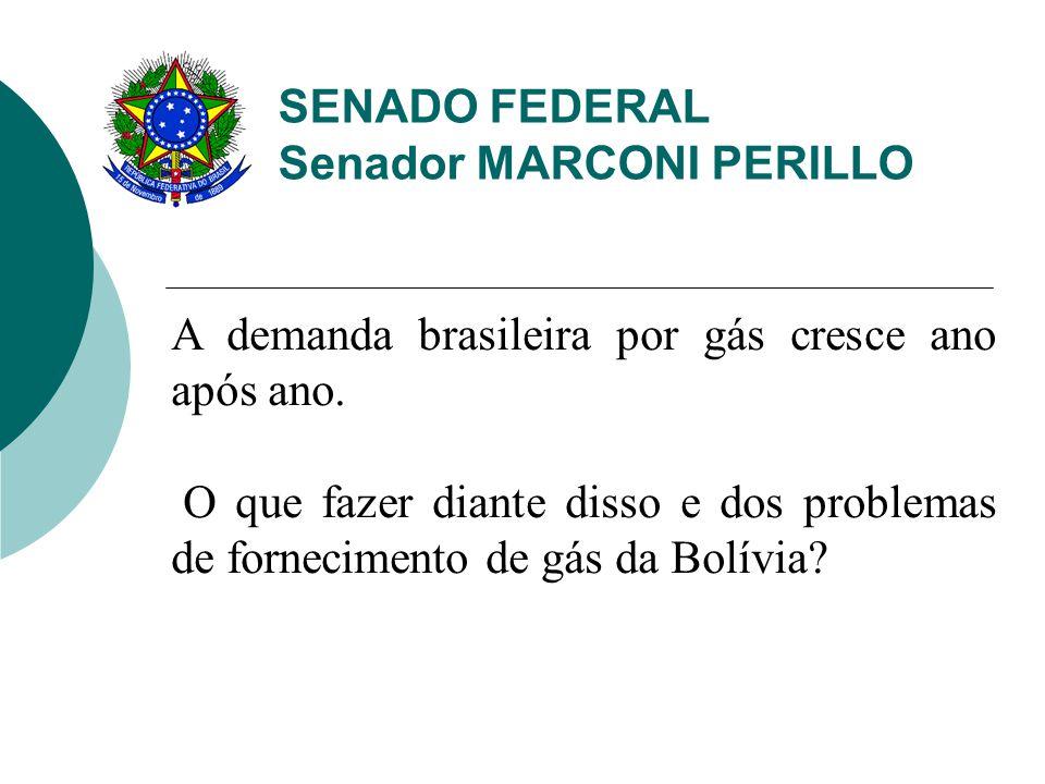 SENADO FEDERAL Senador MARCONI PERILLO A demanda brasileira por gás cresce ano após ano. O que fazer diante disso e dos problemas de fornecimento de g