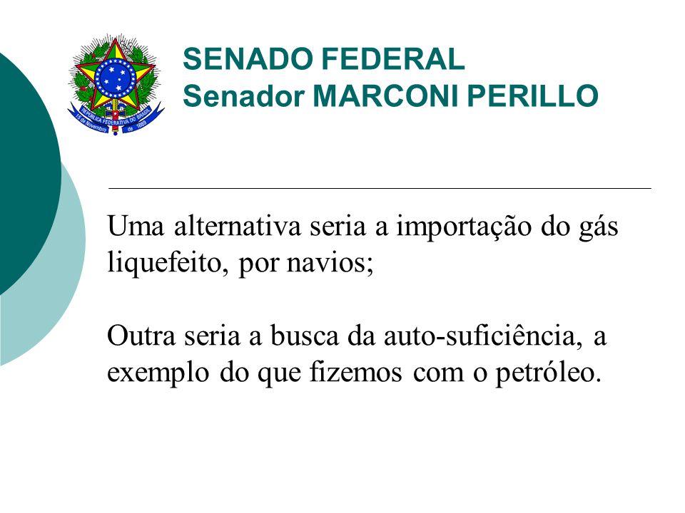 SENADO FEDERAL Senador MARCONI PERILLO Uma alternativa seria a importação do gás liquefeito, por navios; Outra seria a busca da auto-suficiência, a exemplo do que fizemos com o petróleo.