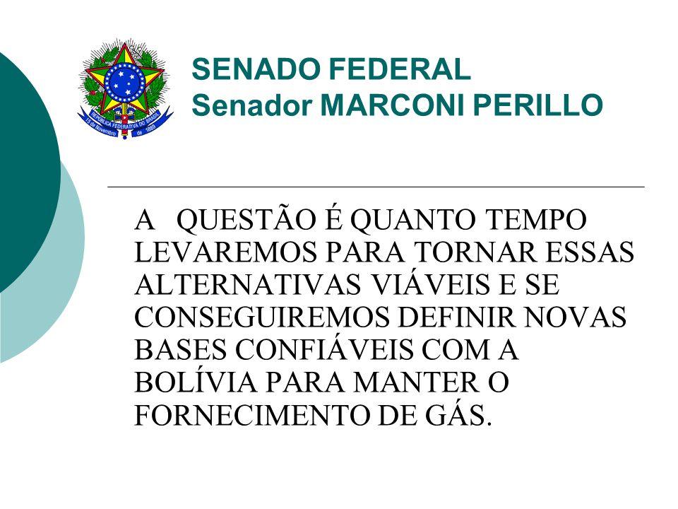 SENADO FEDERAL Senador MARCONI PERILLO A QUESTÃO É QUANTO TEMPO LEVAREMOS PARA TORNAR ESSAS ALTERNATIVAS VIÁVEIS E SE CONSEGUIREMOS DEFINIR NOVAS BASES CONFIÁVEIS COM A BOLÍVIA PARA MANTER O FORNECIMENTO DE GÁS.