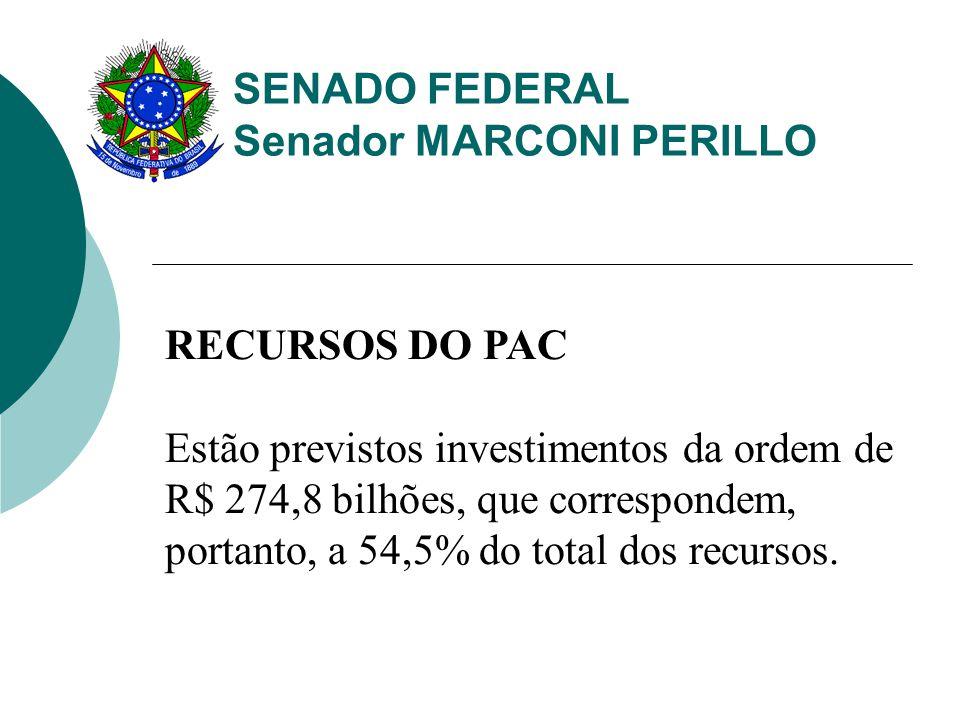 SENADO FEDERAL Senador MARCONI PERILLO RECURSOS DO PAC Estão previstos investimentos da ordem de R$ 274,8 bilhões, que correspondem, portanto, a 54,5% do total dos recursos.