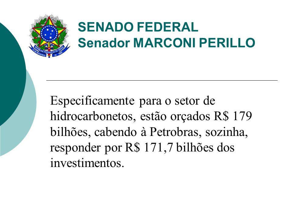 SENADO FEDERAL Senador MARCONI PERILLO Especificamente para o setor de hidrocarbonetos, estão orçados R$ 179 bilhões, cabendo à Petrobras, sozinha, re