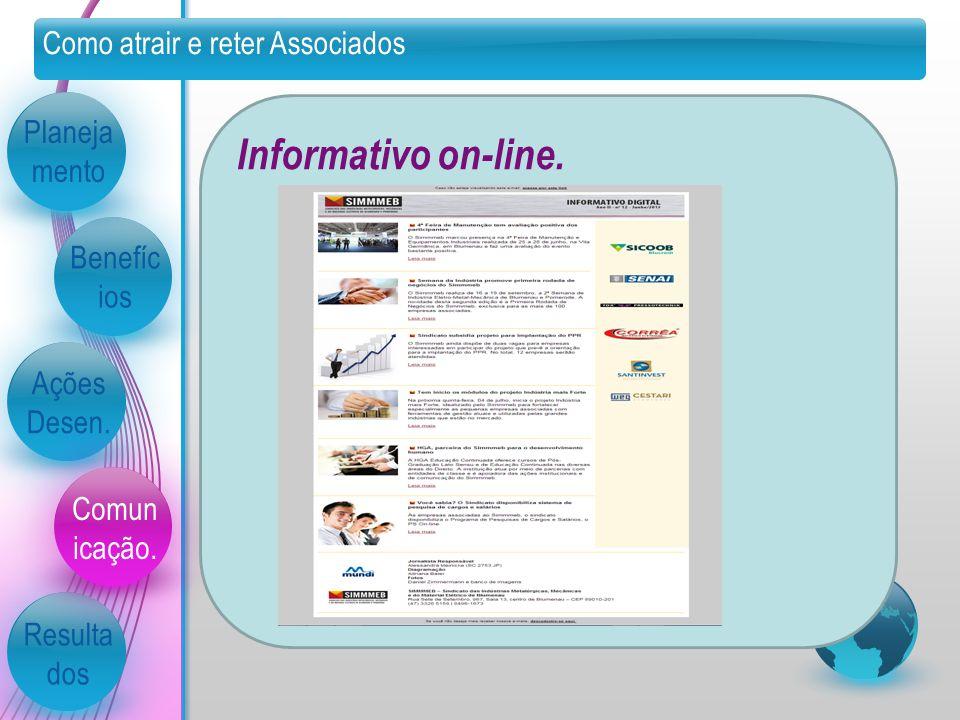 Como atrair e reter Associados Planeja mento Benefíc ios Ações Desen. Comun icação. Resulta dos Informativo on-line.