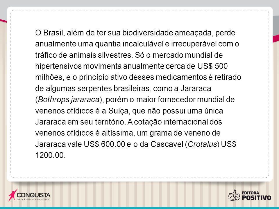 O Brasil, além de ter sua biodiversidade ameaçada, perde anualmente uma quantia incalculável e irrecuperável com o tráfico de animais silvestres. Só o