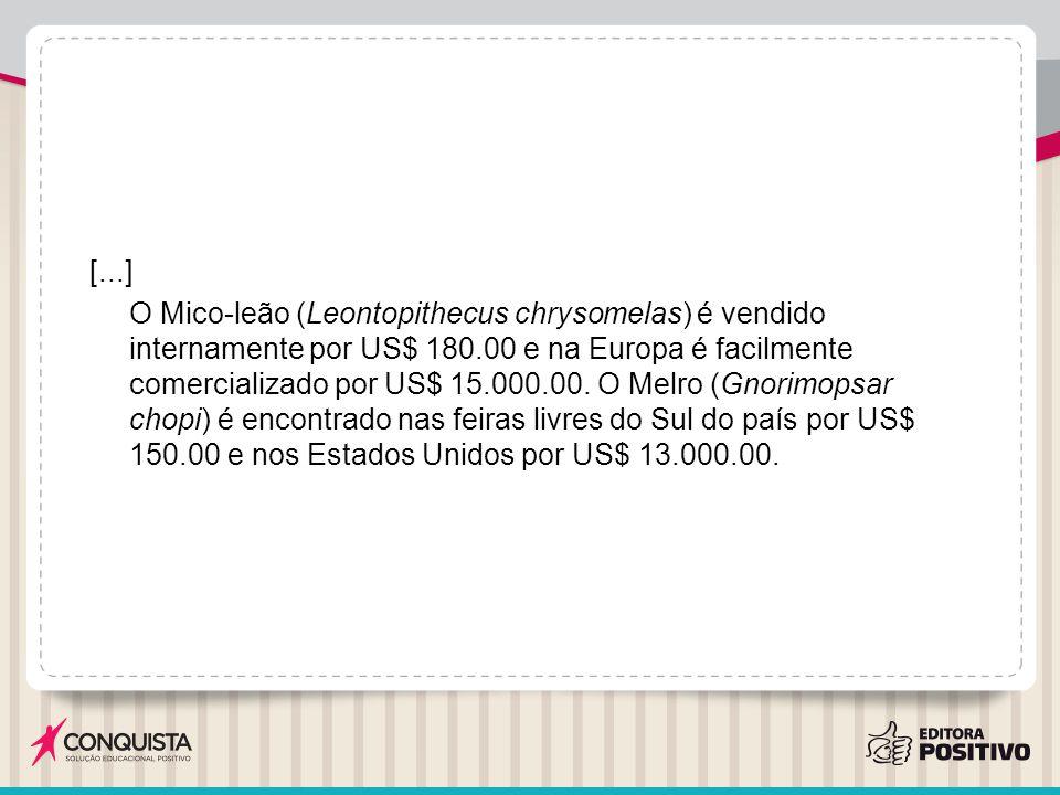 [...] O Mico-leão (Leontopithecus chrysomelas) é vendido internamente por US$ 180.00 e na Europa é facilmente comercializado por US$ 15.000.00.