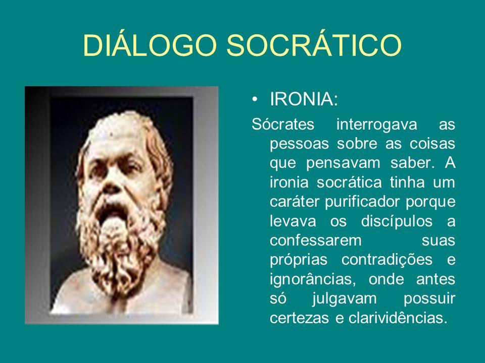 DIÁLOGO SOCRÁTICO IRONIA: Sócrates interrogava as pessoas sobre as coisas que pensavam saber. A ironia socrática tinha um caráter purificador porque l
