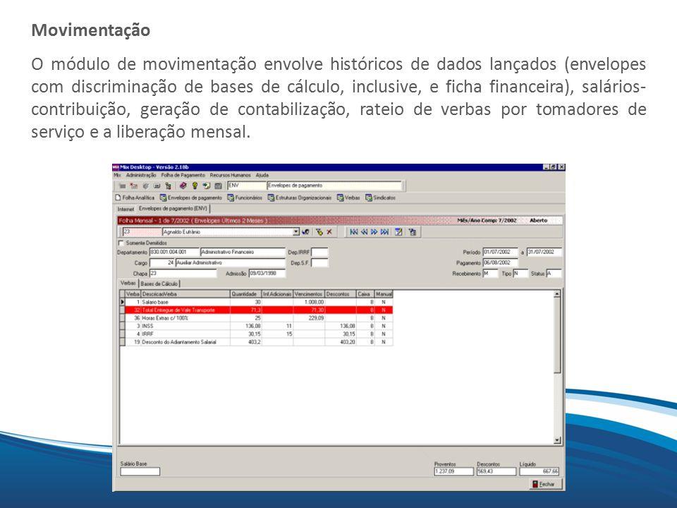 Mix Movimentação O módulo de movimentação envolve históricos de dados lançados (envelopes com discriminação de bases de cálculo, inclusive, e ficha fi