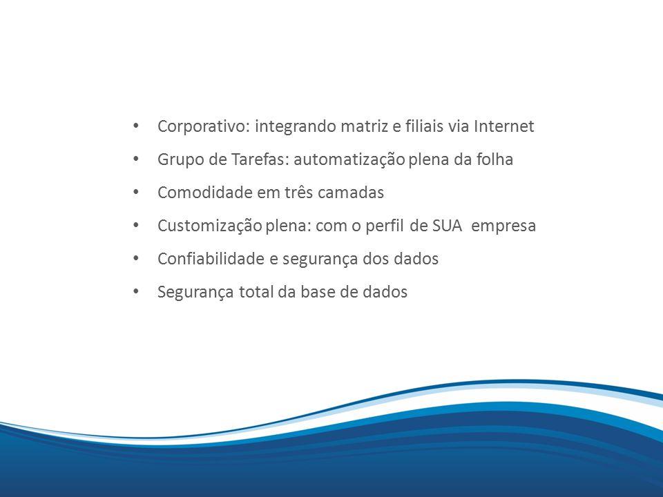 Mix Corporativo: integrando matriz e filiais via Internet Grupo de Tarefas: automatização plena da folha Comodidade em três camadas Customização plena: com o perfil de SUA empresa Confiabilidade e segurança dos dados Segurança total da base de dados