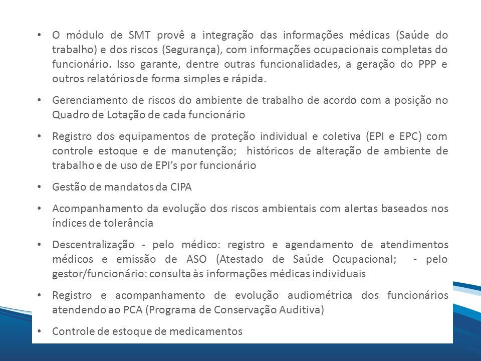 Mix O módulo de SMT provê a integração das informações médicas (Saúde do trabalho) e dos riscos (Segurança), com informações ocupacionais completas do funcionário.