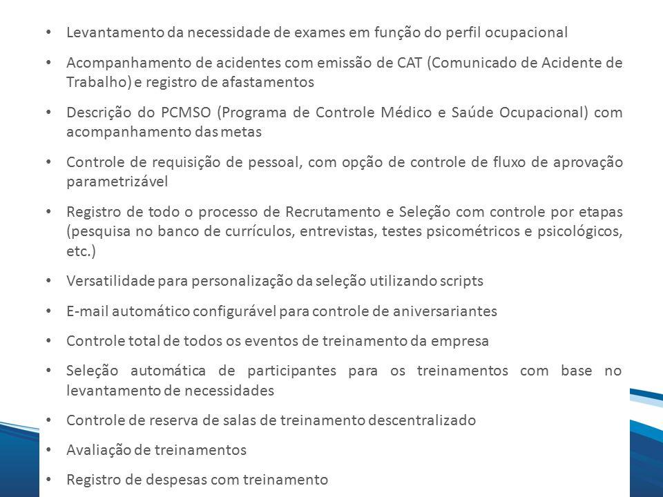 Mix Levantamento da necessidade de exames em função do perfil ocupacional Acompanhamento de acidentes com emissão de CAT (Comunicado de Acidente de Tr