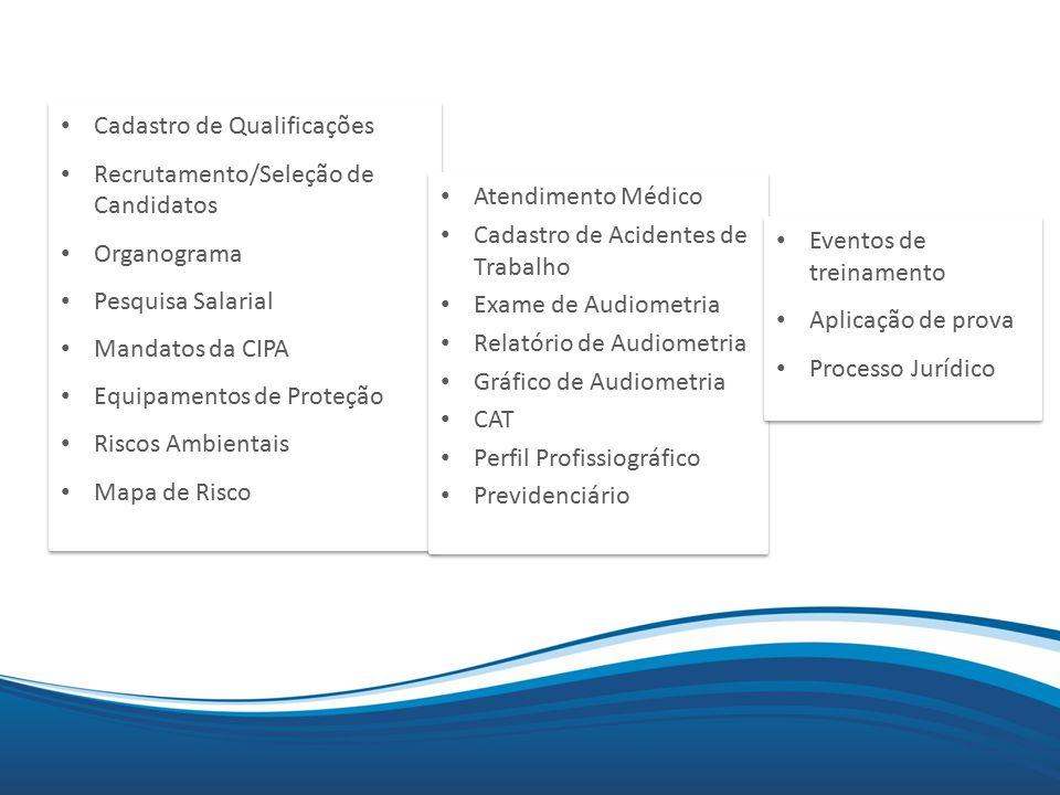 Mix Cadastro de Qualificações Recrutamento/Seleção de Candidatos Organograma Pesquisa Salarial Mandatos da CIPA Equipamentos de Proteção Riscos Ambientais Mapa de Risco Cadastro de Qualificações Recrutamento/Seleção de Candidatos Organograma Pesquisa Salarial Mandatos da CIPA Equipamentos de Proteção Riscos Ambientais Mapa de Risco Atendimento Médico Cadastro de Acidentes de Trabalho Exame de Audiometria Relatório de Audiometria Gráfico de Audiometria CAT Perfil Profissiográfico Previdenciário Atendimento Médico Cadastro de Acidentes de Trabalho Exame de Audiometria Relatório de Audiometria Gráfico de Audiometria CAT Perfil Profissiográfico Previdenciário Eventos de treinamento Aplicação de prova Processo Jurídico Eventos de treinamento Aplicação de prova Processo Jurídico