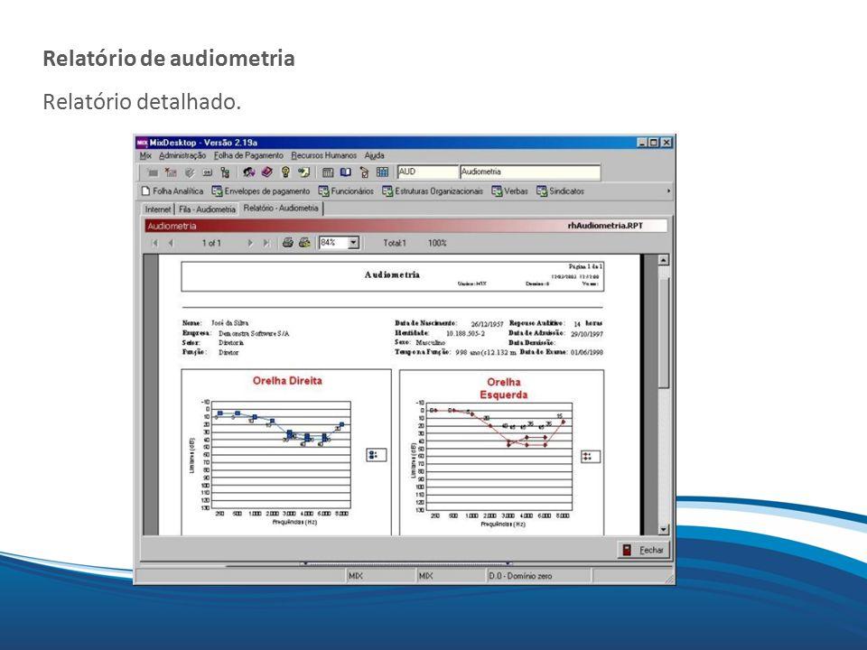 Mix Relatório de audiometria Relatório detalhado.