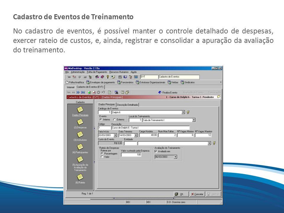 Mix Cadastro de Eventos de Treinamento No cadastro de eventos, é possível manter o controle detalhado de despesas, exercer rateio de custos, e, ainda,