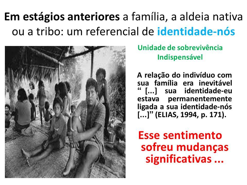 Em estágios anteriores a família, a aldeia nativa ou a tribo: um referencial de identidade-nós Unidade de sobrevivência Indispensável A relação do ind