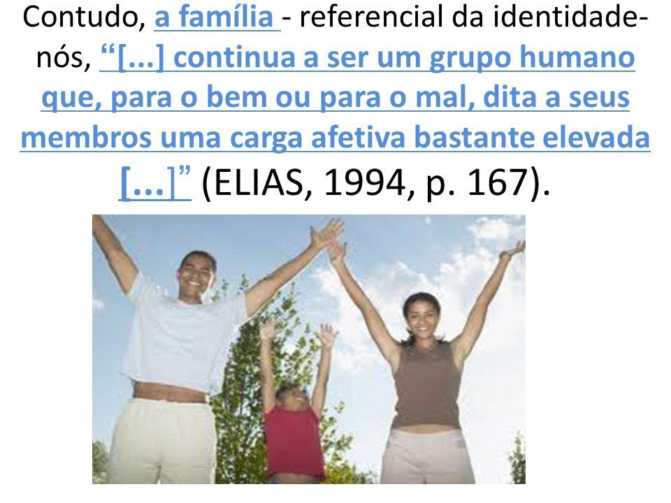 """Contudo, a família - referencial da identidade- nós, """"[...] continua a ser um grupo humano que, para o bem ou para o mal, dita a seus membros uma carg"""