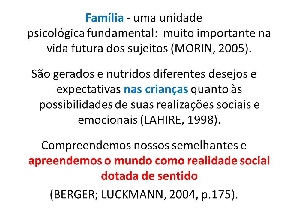 Família - uma unidade psicológica fundamental: muito importante na vida futura dos sujeitos (MORIN, 2005). São gerados e nutridos diferentes desejos e