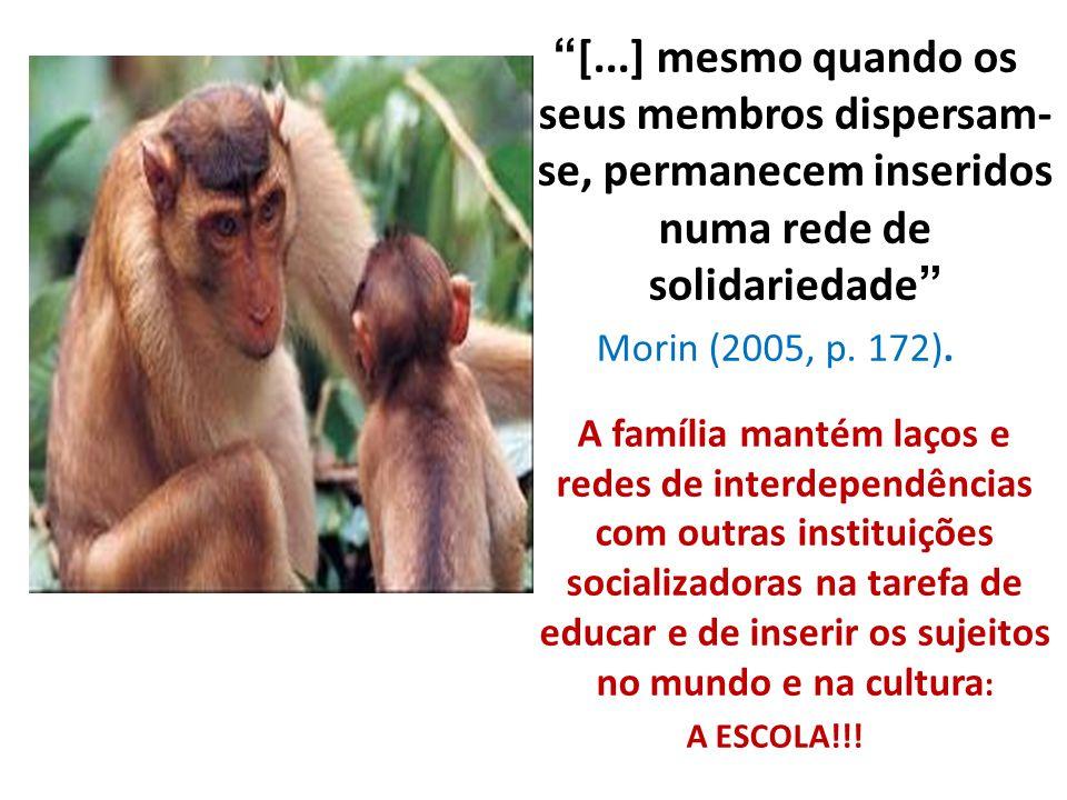 """""""[...] mesmo quando os seus membros dispersam- se, permanecem inseridos numa rede de solidariedade"""" Morin (2005, p. 172). A família mantém laços e red"""