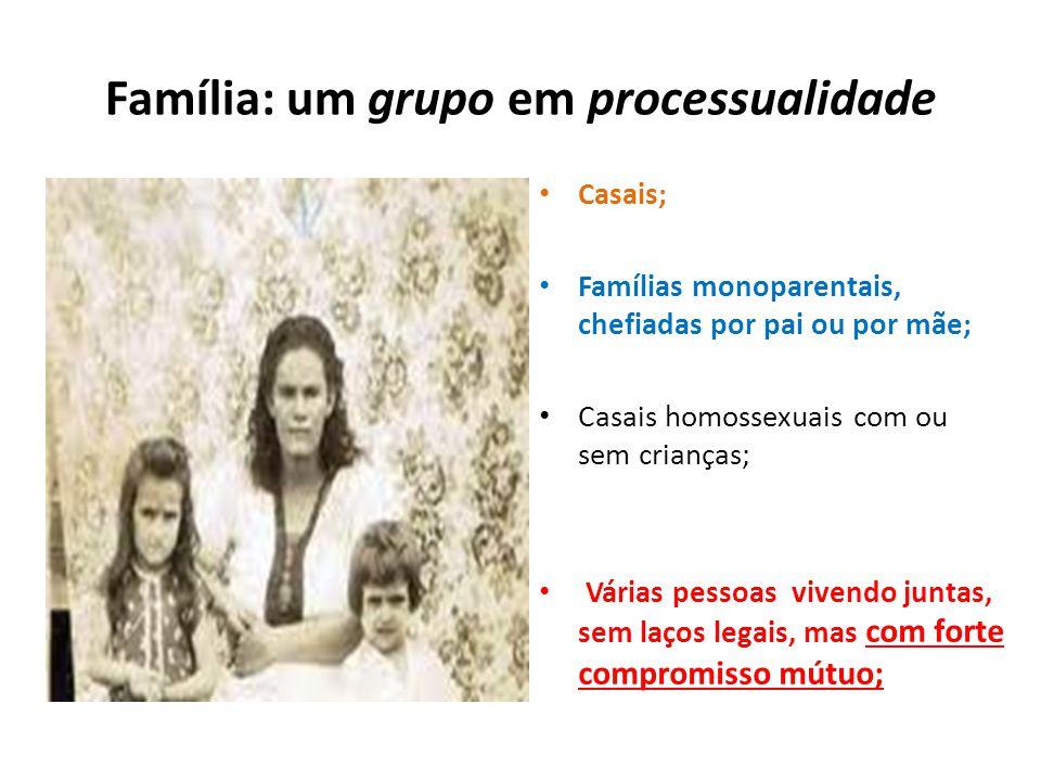 Família: um grupo em processualidade Casais; Famílias monoparentais, chefiadas por pai ou por mãe; Casais homossexuais com ou sem crianças; Várias pes