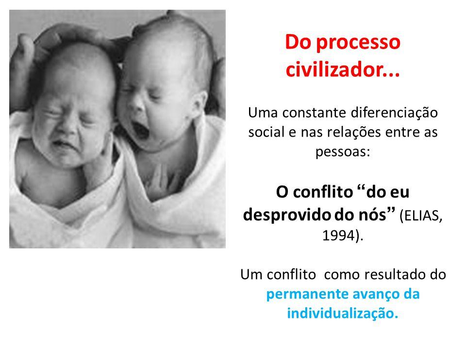 """Do processo civilizador... Uma constante diferenciação social e nas relações entre as pessoas: O conflito """"do eu desprovido do nós"""" (ELIAS, 1994). Um"""