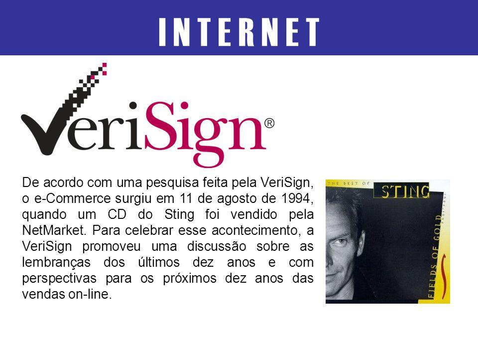 I N T E R N E T De acordo com uma pesquisa feita pela VeriSign, o e-Commerce surgiu em 11 de agosto de 1994, quando um CD do Sting foi vendido pela Ne