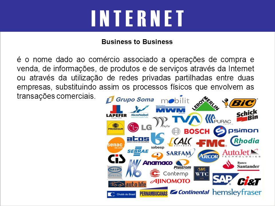I N T E R N E T Business to Business é o nome dado ao comércio associado a operações de compra e venda, de informações, de produtos e de serviços atra