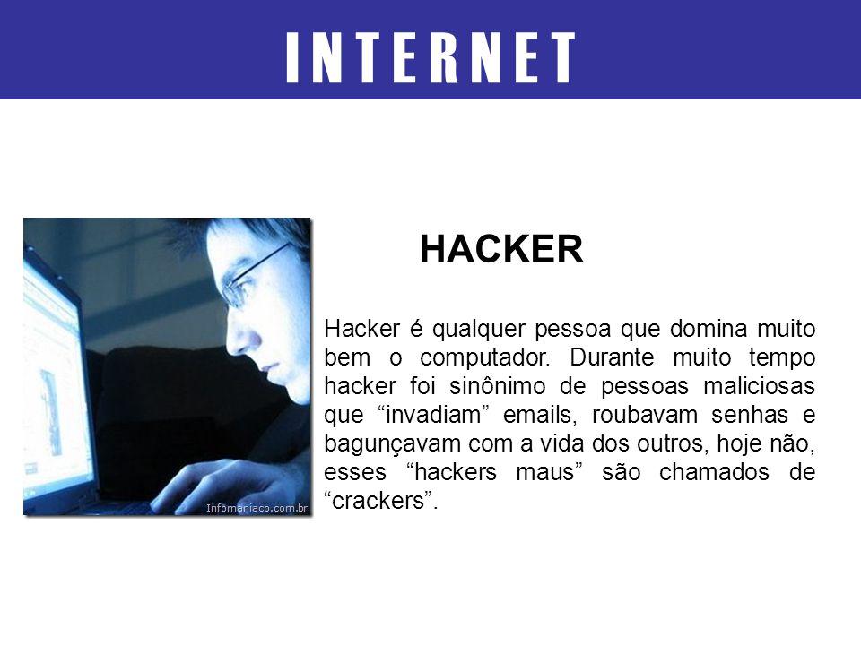 """I N T E R N E T Hacker é qualquer pessoa que domina muito bem o computador. Durante muito tempo hacker foi sinônimo de pessoas maliciosas que """"invadia"""
