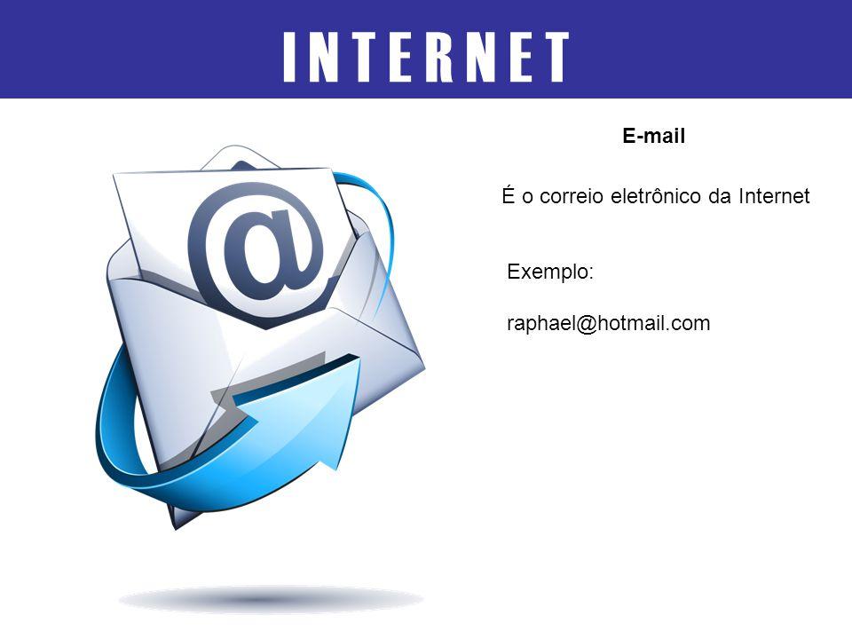 I N T E R N E T É o correio eletrônico da Internet E-mail Exemplo: raphael@hotmail.com