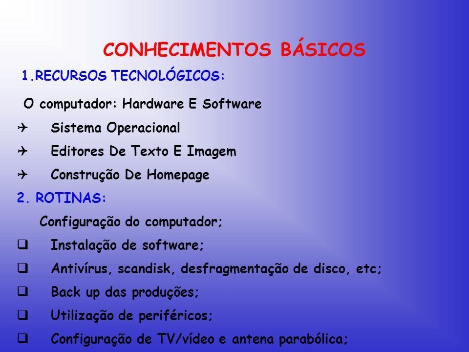 CONHECIMENTOS BÁSICOS 1.RECURSOS TECNOLÓGICOS: O computador: Hardware E Software  Sistema Operacional  Editores De Texto E Imagem  Construção De Homepage 2.