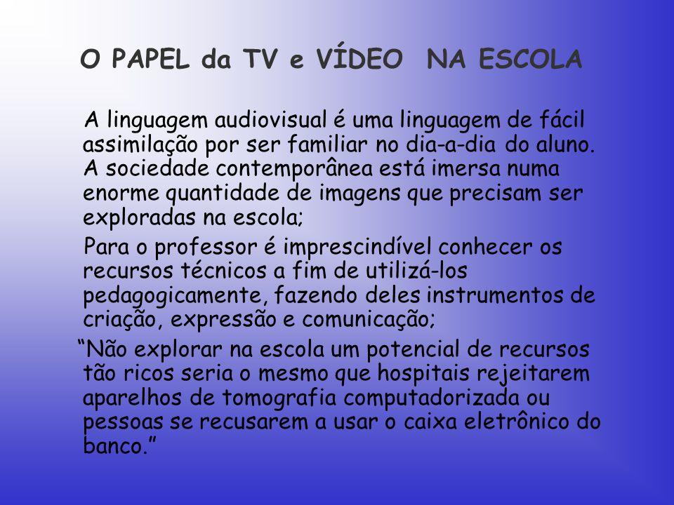 O PAPEL da TV e VÍDEO NA ESCOLA A linguagem audiovisual é uma linguagem de fácil assimilação por ser familiar no dia-a-dia do aluno.