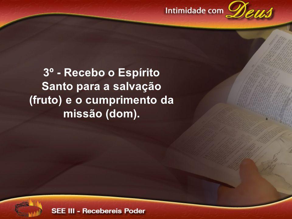 3º - Recebo o Espírito Santo para a salvação (fruto) e o cumprimento da missão (dom).