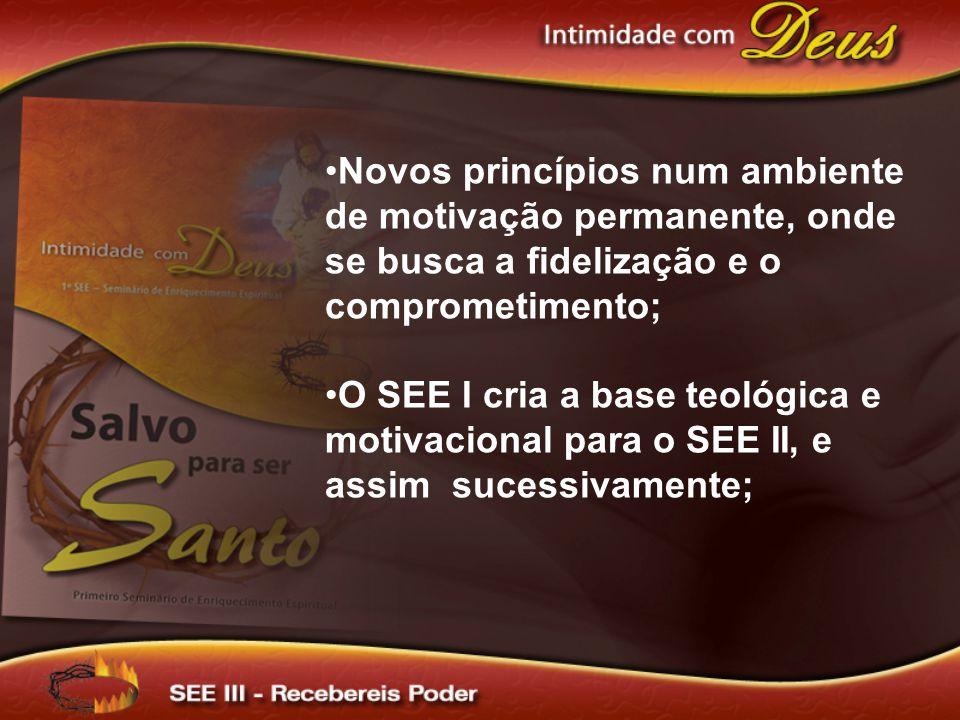Novos princípios num ambiente de motivação permanente, onde se busca a fidelização e o comprometimento; O SEE I cria a base teológica e motivacional p