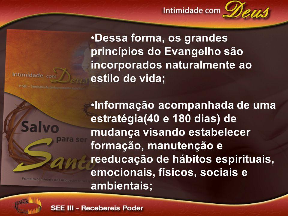 Dessa forma, os grandes princípios do Evangelho são incorporados naturalmente ao estilo de vida; Informação acompanhada de uma estratégia(40 e 180 dia