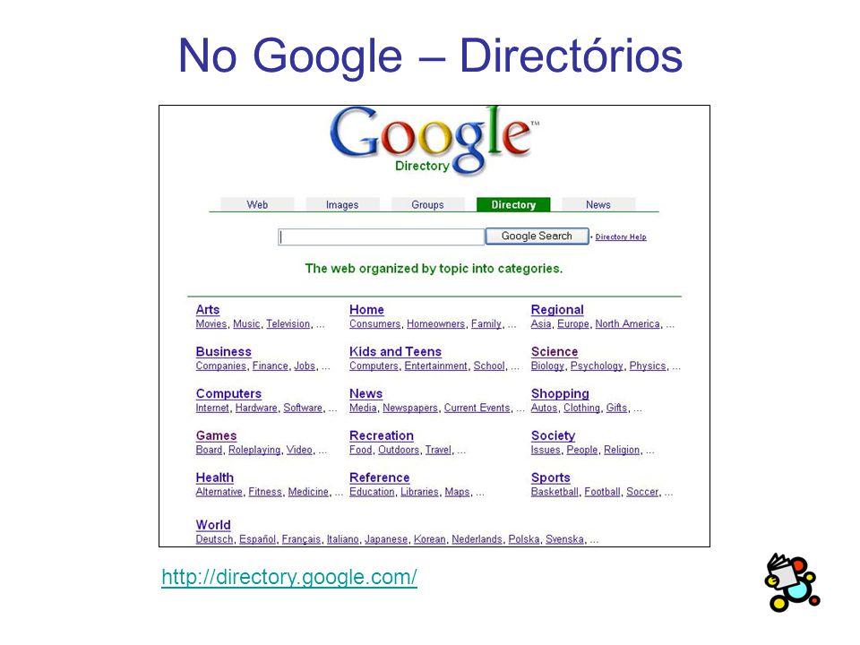 No Google – Directórios http://directory.google.com/