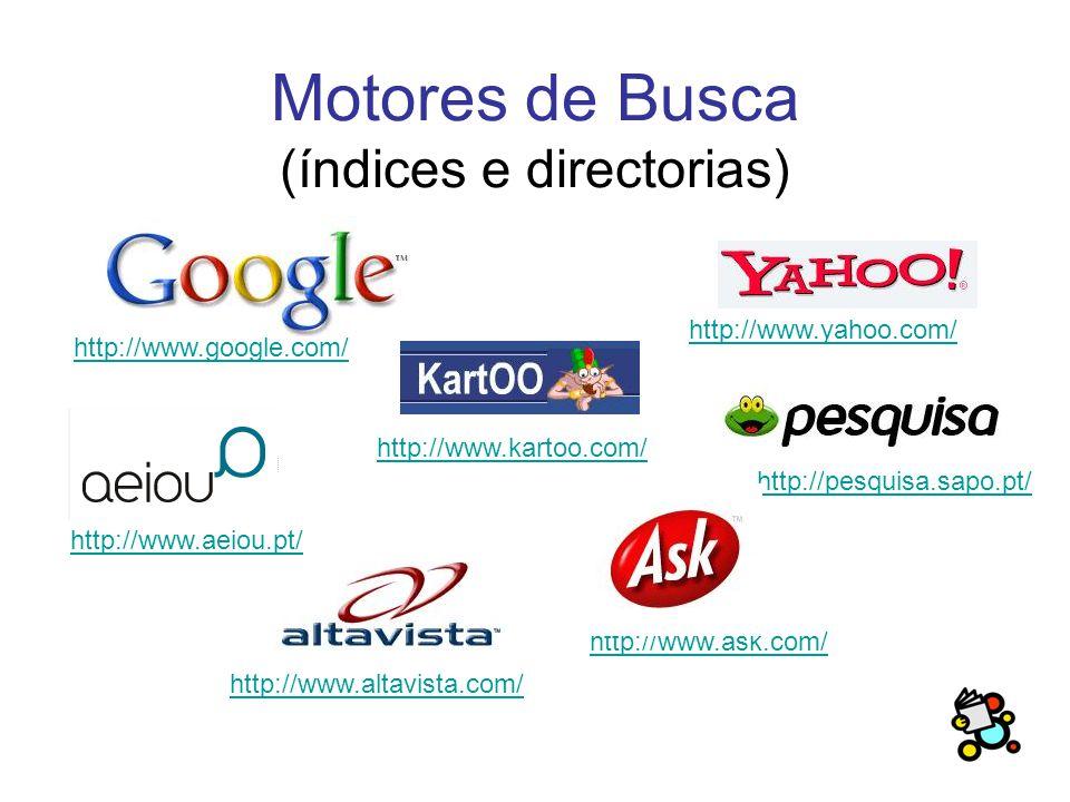 Motores de Busca (índices e directorias) http://www.yahoo.com/ http://www.ask.com/ http://www.google.com/ http://pesquisa.sapo.pt/ http://www.aeiou.pt/ http://www.kartoo.com/ http://www.altavista.com/
