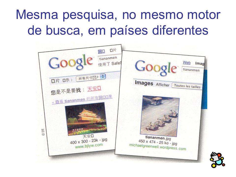 Mesma pesquisa, no mesmo motor de busca, em países diferentes