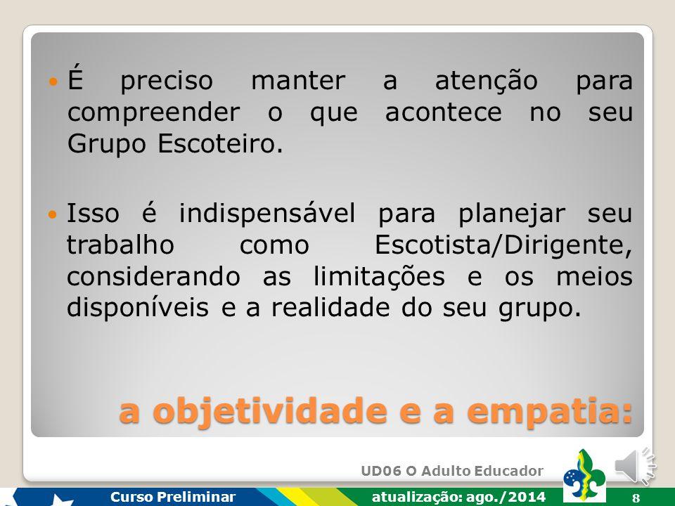 UD06 O Adulto Educador Curso Preliminar atualização: ago./2014 8 É preciso manter a atenção para compreender o que acontece no seu Grupo Escoteiro.