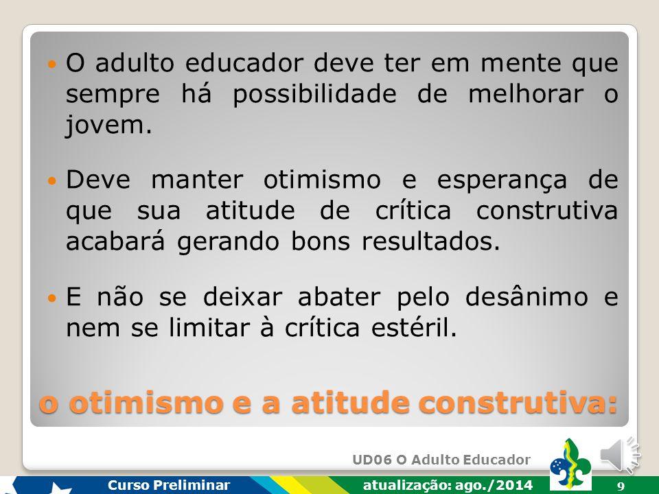 UD06 O Adulto Educador Curso Preliminar atualização: ago./2014 9 O adulto educador deve ter em mente que sempre há possibilidade de melhorar o jovem.