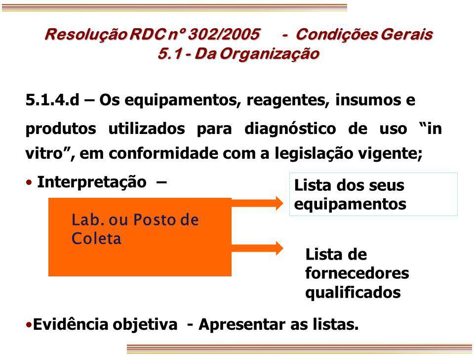 Resolução RDC nº 302/2005 - Condições Gerais 5.1 - Da Organização 5.1.4.d – Os equipamentos, reagentes, insumos e produtos utilizados para diagnóstico
