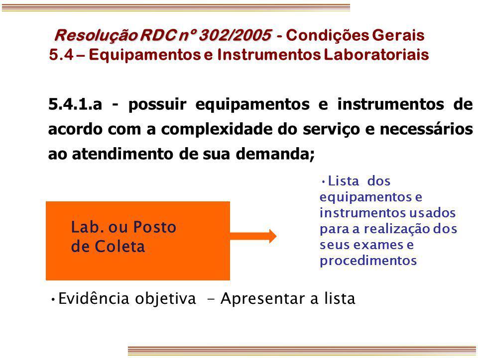 Resolução RDC nº 302/2005 Resolução RDC nº 302/2005 - Condições Gerais 5.4 – Equipamentos e Instrumentos Laboratoriais Lab. ou Posto de Coleta Lista d