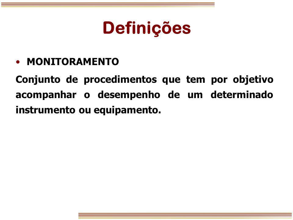 Definições MONITORAMENTO Conjunto de procedimentos que tem por objetivo acompanhar o desempenho de um determinado instrumento ou equipamento.