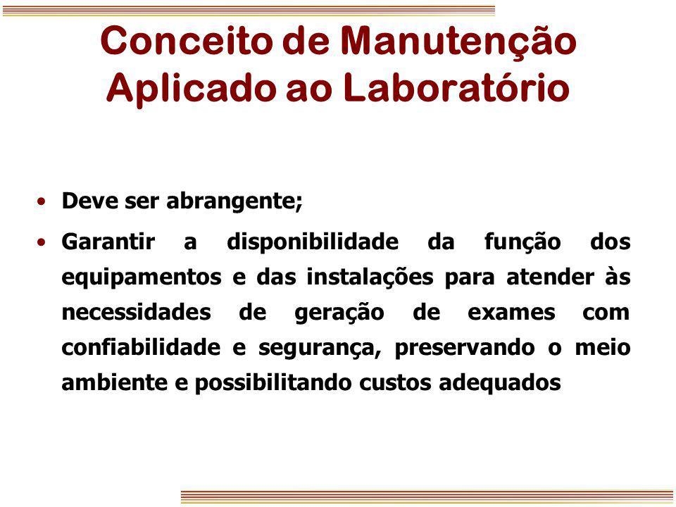 Conceito de Manutenção Aplicado ao Laboratório Deve ser abrangente; Garantir a disponibilidade da função dos equipamentos e das instalações para atend