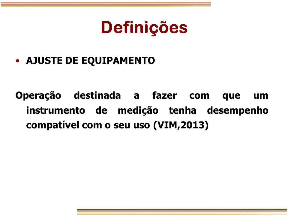 Definições AJUSTE DE EQUIPAMENTO Operação destinada a fazer com que um instrumento de medição tenha desempenho compatível com o seu uso (VIM,2013)