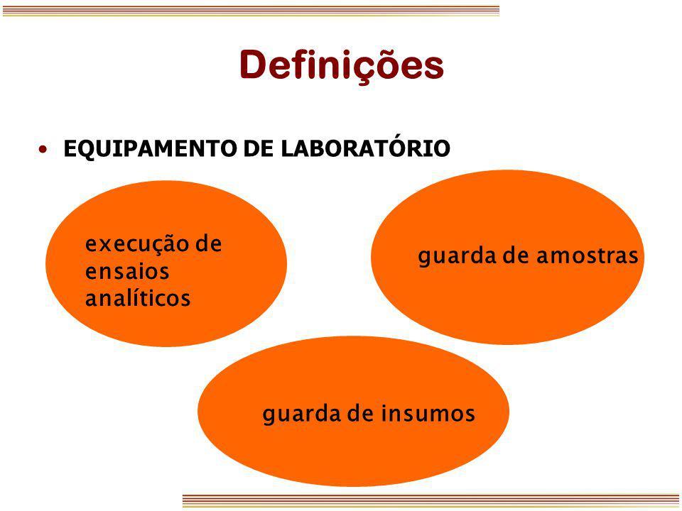 Definições EQUIPAMENTO DE LABORATÓRIO guarda de amostras execução de ensaios analíticos guarda de insumos