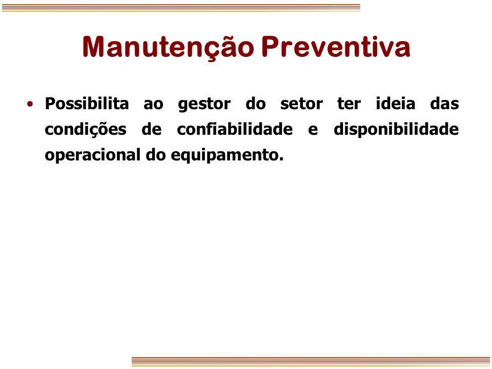 Manutenção Preventiva Possibilita ao gestor do setor ter ideia das condições de confiabilidade e disponibilidade operacional do equipamento.