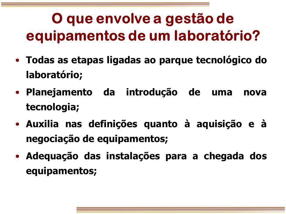 O que envolve a gestão de equipamentos de um laboratório? Todas as etapas ligadas ao parque tecnológico do laboratório; Planejamento da introdução de